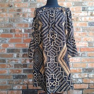 Black & Gold geometric, loose, bell sleeve dress
